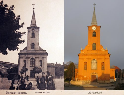 Pécs Ágoston templom régen és 2010-ben