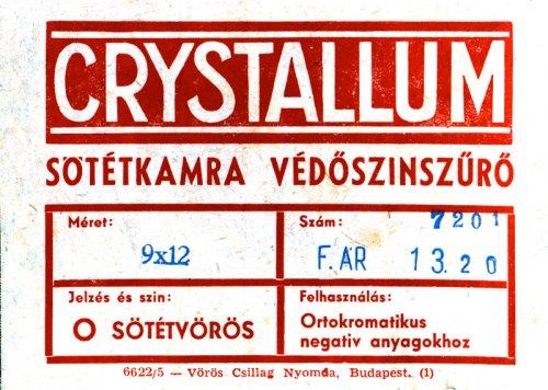 Crystallum sötétkamraszűrő