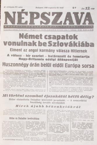 NÉPSZAVA 1939.08.29. kedd