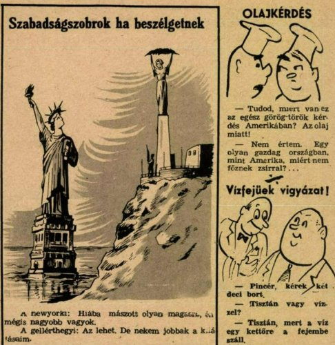 Szabadság szobor Gellért hegy karikatúra