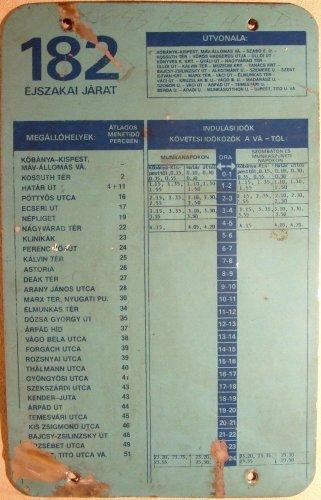 BKV menetrend