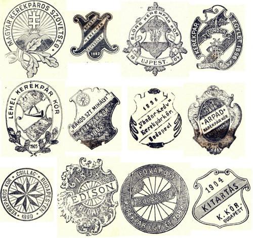 Kerékpáros egyesületek címerei száz éve