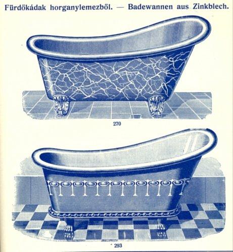 Fürdőkádak horganylemezből