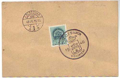 Kolozsvár visszatér bélyeg
