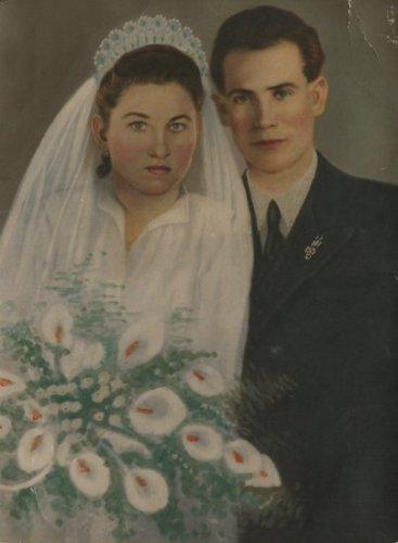 Kézzel átfestett esküvői fotó