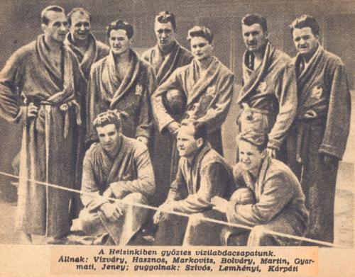 vizilabda olimpiai bajnokaink 1952-ben