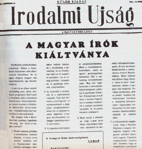 Irodalmi Újság - 1956 október 23