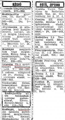 Apróhirdetés 1956-ból