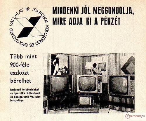 Iparcikk Kölcsönző Vállalat televíziók