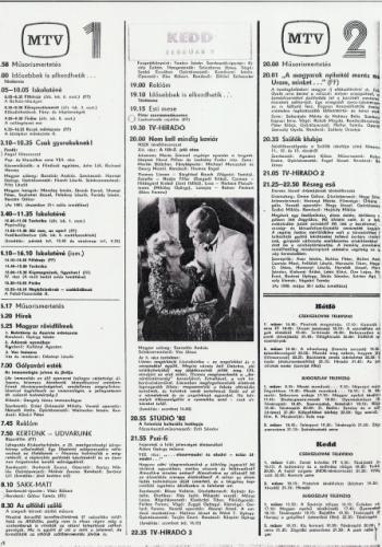 RTV újság televízió műsor 1982.02.09