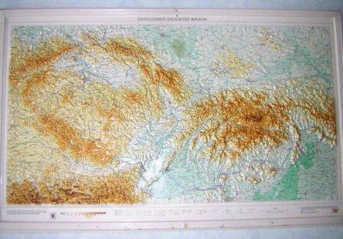 Csehszlovákia domborzati térképe