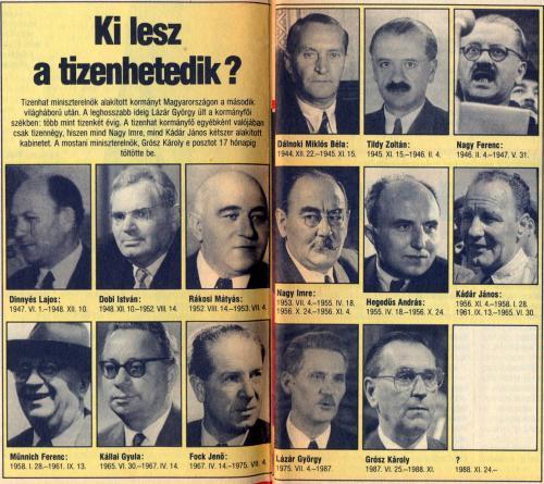 Miniszterelnökeink 1944-1988