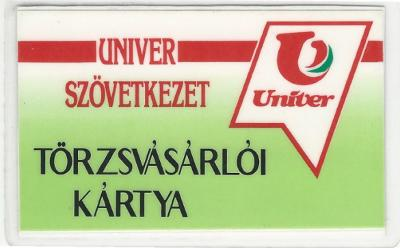 Univer szövetkezeti kártya