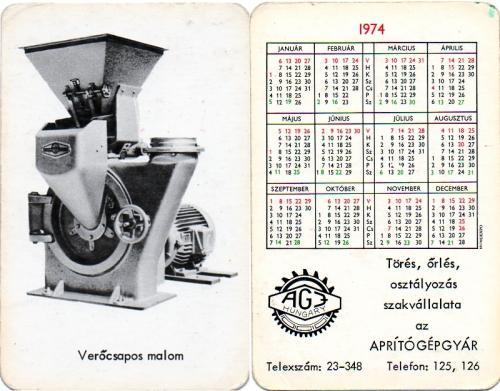 Aprítógépgyár kártyanaptár