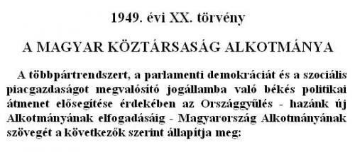 Alkotmány preambuluma 1989-től