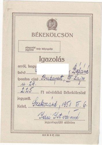 Békekölcsön befizetési igazolás 1951