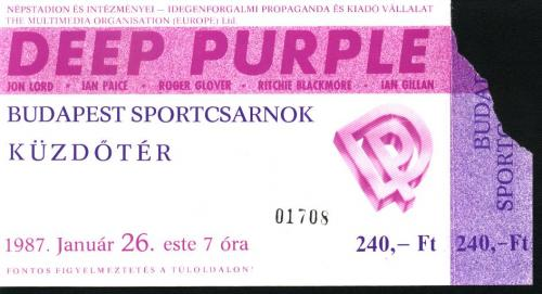 Budapesti Deep Purple koncertjegy