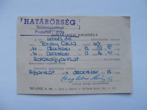 Kimaradási engedély 1974