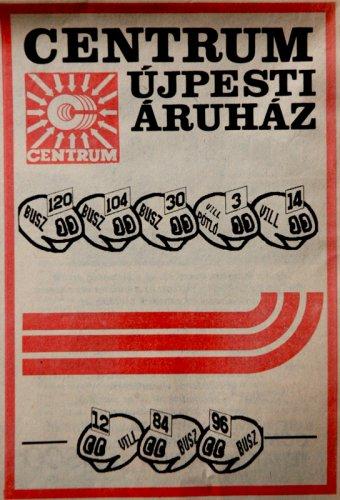 Újpesti Centrum Áruház reklám