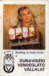 Dunavidéki Vendéglátó Vállalat kártyanaptára