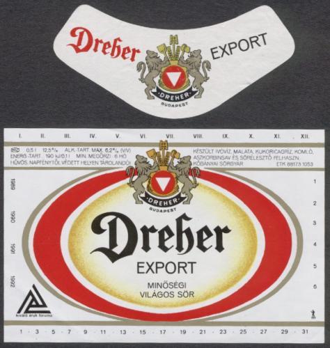 Dreher Export sörcímke 1989