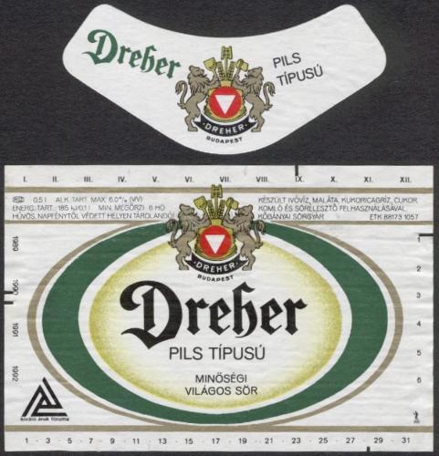 Dreher Pils sörcímke 1989