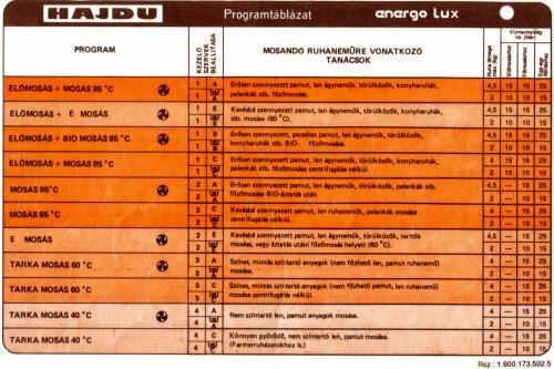 HAJDU - Energo Lux programtáblázat 1.