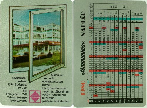 Fémmunkás naptár, természetesen fémből 1980