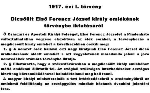 Törvény Ferenc József emlékéről
