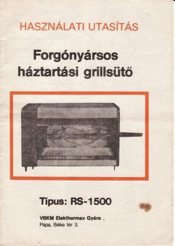 Grillsütő használati utasítás