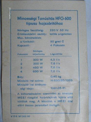 Minőségi tanúsítás - HFG600 hajszárítóhoz