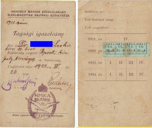 Hadviselt bajtársi szövetség tagsági igazolvány 1922