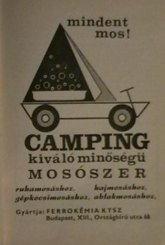 Camping mosószer reklám