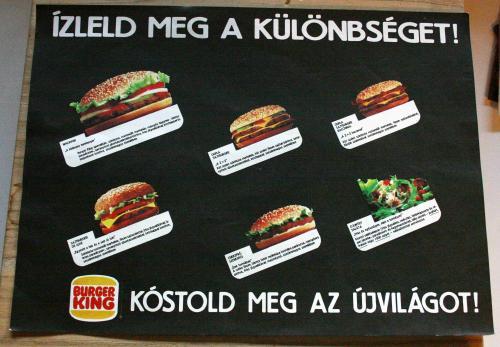 Burger King tálca papír