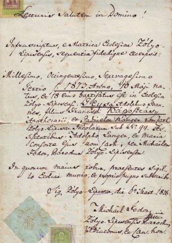 Keresztlevél 1876