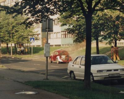 Szombathely égő Volkswagen bogár