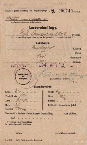 Leszerelési jegy