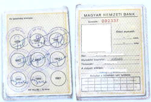 Magyar Nemzeti Bank igazolvány