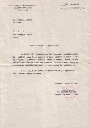 MSZMP levél