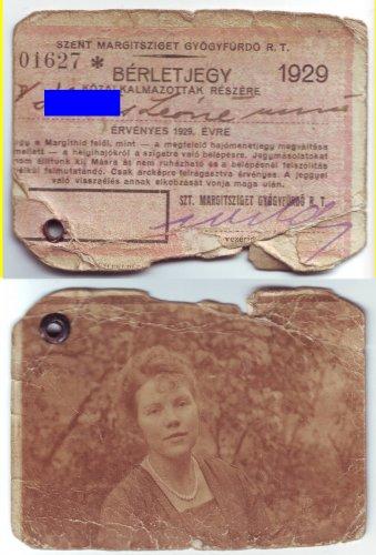Margit fürdő tagsági igazolvány