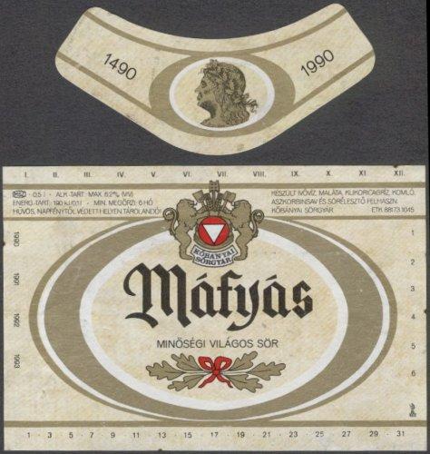 Mátyás sörcímke 1990