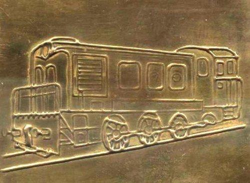 Mozdony rézlapocska relief