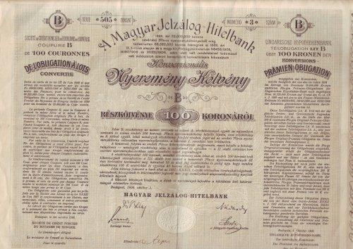 Nyeremény kötvény Magyar Jelzálog Hitelbank
