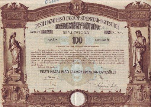 Nyeremény kötvény Pesti Hazai Első Takarékpénztár-Egyesület