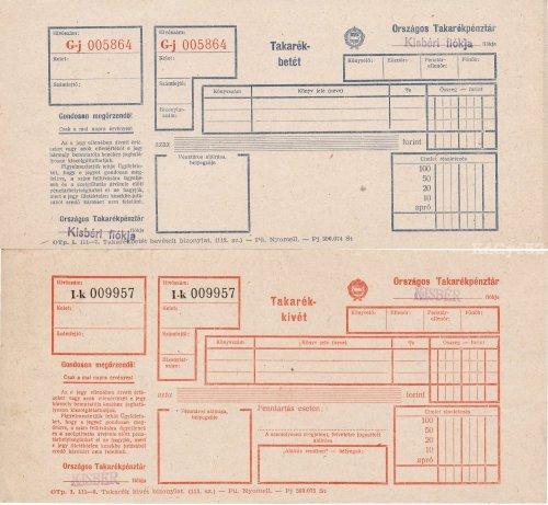 OTP takarékbetét és kivét jegy