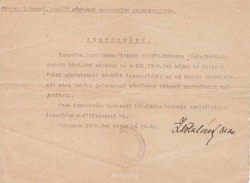 Honvédségi Igazolvány 1945