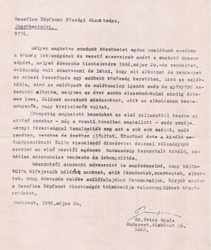 Köszönőlevé l- Prinz Gyula emléktábla