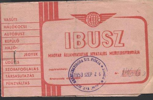 IBUSZ menetjegy borító