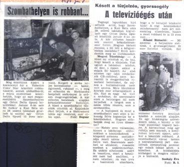 Orion Delta televízió újságcikk