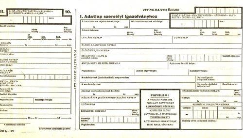 Személyigazolvány adatkérő lap